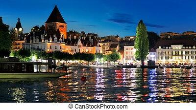 Night view of Lausanne, Switzerland - Scenic summer night...
