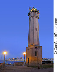 Night View of Lighthouse at Alcatraz