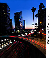 Night view of Los Angeles freeway and buildings