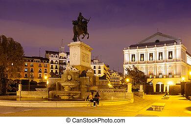 Night view of Madrid, Spain