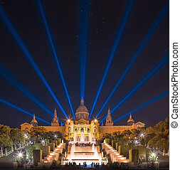 night view of Magic Fountain in Barcelona - night view of ...