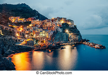 Night view of Manarola fishing village in Cinque Terre, Italy