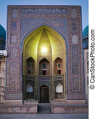 Mir-i-Arab Medressa from Kalon Mosque - Bukhara - Night view...
