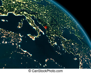 Night view of Montenegro on Earth - Orbit view of Montenegro...
