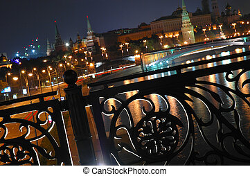 night view of Moscow Kremlin and banisters