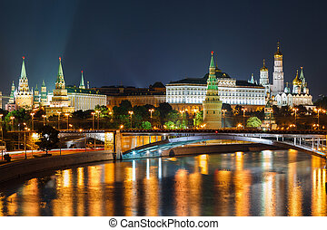 Night view of Moscow Kremlin in Russia