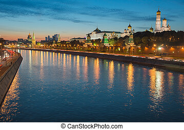 Night view of Moscow Kremlin in the summer, Russia