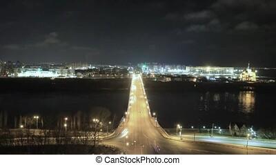 Night view of Nizhny Novgorod with Kanavinsky bridge and...