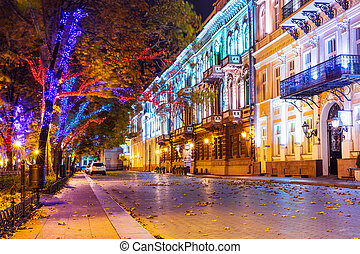 Night view of Odessa, Ukraine