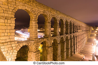 Night view of old roman aqueduct
