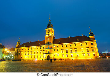 Night view of old town in Warsaw, Poland