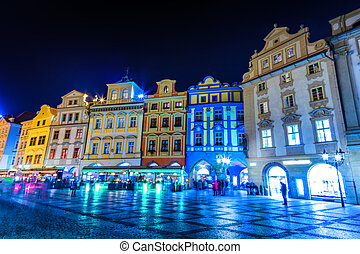 Night view of Old Town Square in Prague