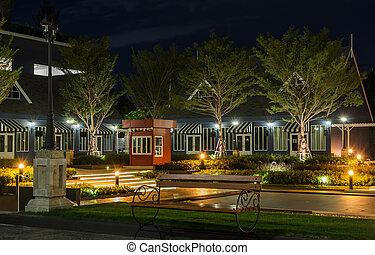 Night view of ornamental garden