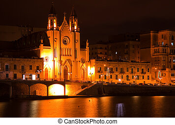 Our Lady of Mount Carmel church at Sliema - Night view of ...