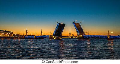 Night view of Palace Bridge, Saint Petersburg, Russia