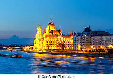 Night view of Parliament in Budapest, hungary