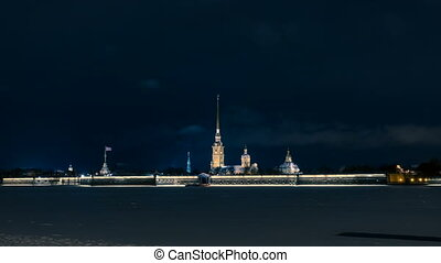 night view of Paul and Peter fortress in Saint Petersburg