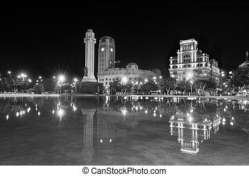 Night view of Plaza de Espana, Santa Cruz de Tenerife, Canary island, Spain.