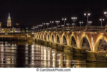 Night view of Pont de pierre in Bordeaux - Aquitaine, France