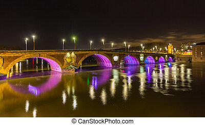 Night view of Pont Neuf in Toulouse - France