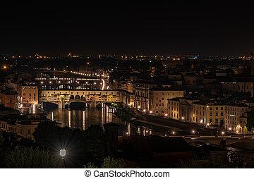 Night view of Ponte Vecchio on the Arno river