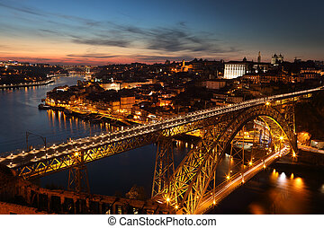 Night view of Porto city, Portugal - Panoramic view of night...