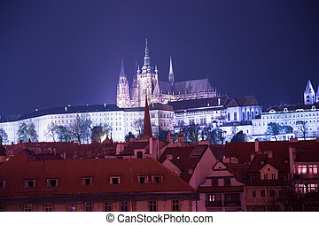 Night view of Prague, Czech Republic: Hradcany, castle and St. Vitus Cathedral