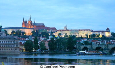 Night view of Prague - river Vltava