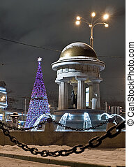 Night view of Pushkin monument in Moscow