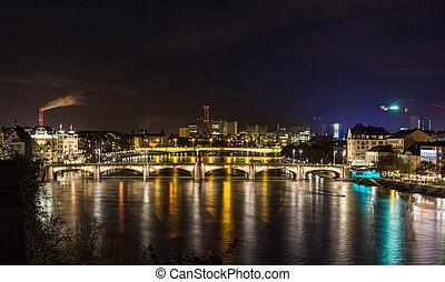 Night view of Rhine embankment in Basel - Switzerland