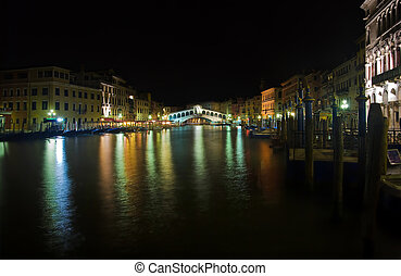 night view of Rialto Bridge, Venice, Italy