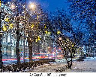NIght view of Riga street in Christmass