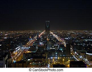 Night view of Riyadh city, Saudi Arabia