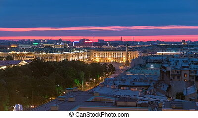 Night view of Saint Petersburg with Palace Square from Isaac cathedral timelapse, Russia