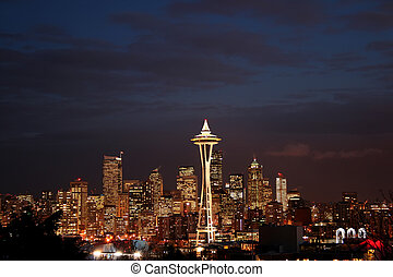 Night view of Seattle downtown