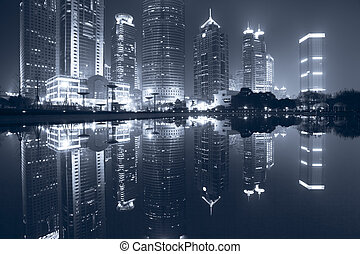 night view of shanghai - the night view of the lujiazui...