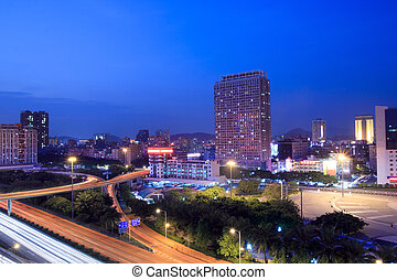 night view of shenzhen ,China