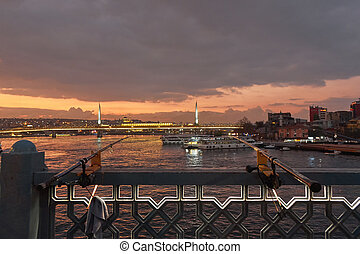 Night view of skyline of Borphorus and Galata bridge, Istanbul, Turkey.