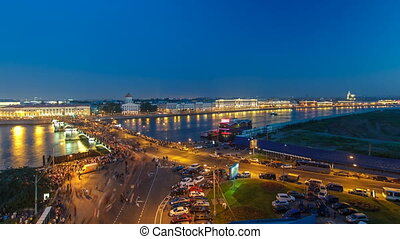 Night view of spit of Vasilyevsky Island and Birzhevoy...