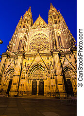 Night-view of St. Vitus Cathedral in Prague (Czech Republic)