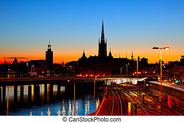 Night view of Stockholm, sweden