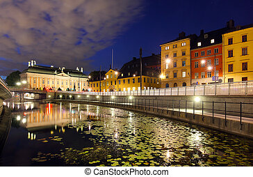 Stockholms old city - Night view of Stockholms old city