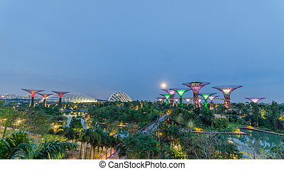 Night view of Supertree Grove ,Cloud Forest Dome and Flower Dome