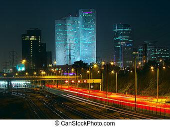 Night view of Tel Aviv, Israel. - Night view of Tel Aviv ...