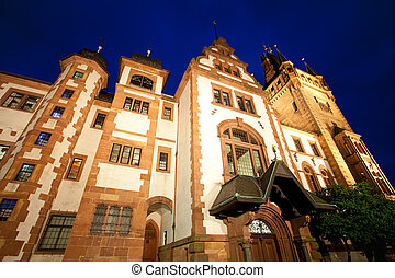 night view of the castle in weinheim