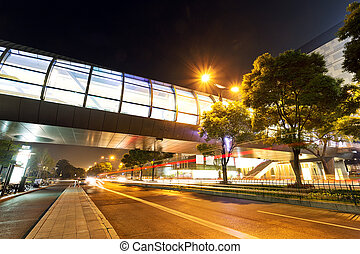 night view of the century avenue in modern city
