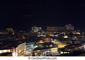 night view of the city. Aerial panorama.