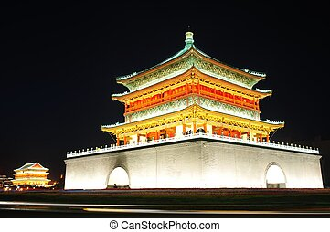 Bell Tower in Xian, China - Night view of the famous ...