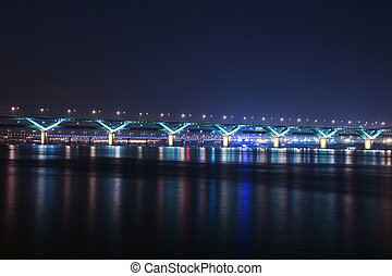 Night view of the Han River bridges in Seoul in South Korea