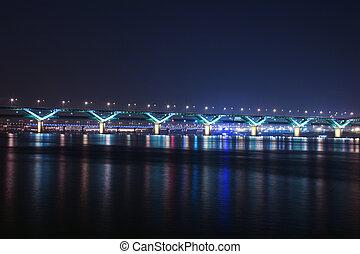 Night view of the Han River bridges in Seoul in South Korea